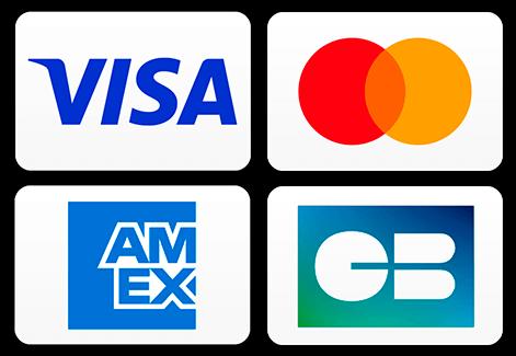 Zahlungsarten Visa, Mastercard, American Express, Discover